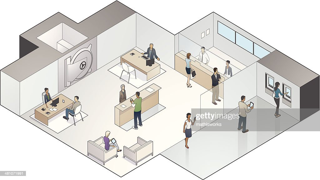 Isometric Bank Branch Illustration : Vector Art