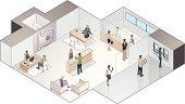 Isometric Bank Branch Illustration
