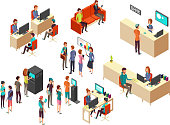 Isometric bank clients and employees for 3d banking services vector concept