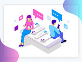 Isometric banner of virtual relationships and online dating and social networking concept. Happy friendship day Teenagers chatting on the Internet.