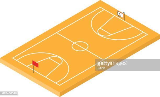 ilustraciones, imágenes clip art, dibujos animados e iconos de stock de icono del baloncesto isométrica - cancha de baloncesto