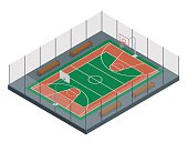 Isometric Basketball court. Sport arena.