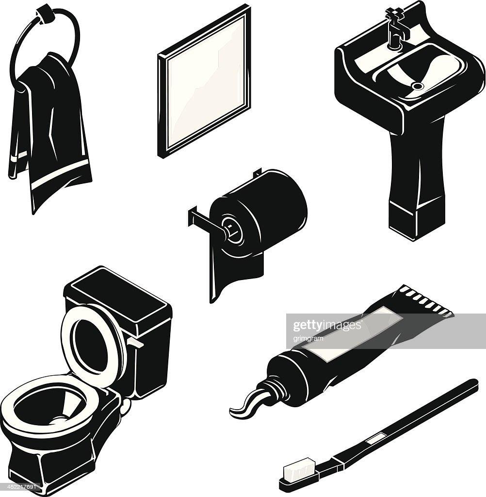 Isometric Bathroom Icon Set