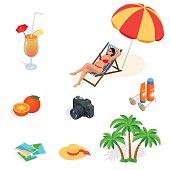 Isometric Beach icon set