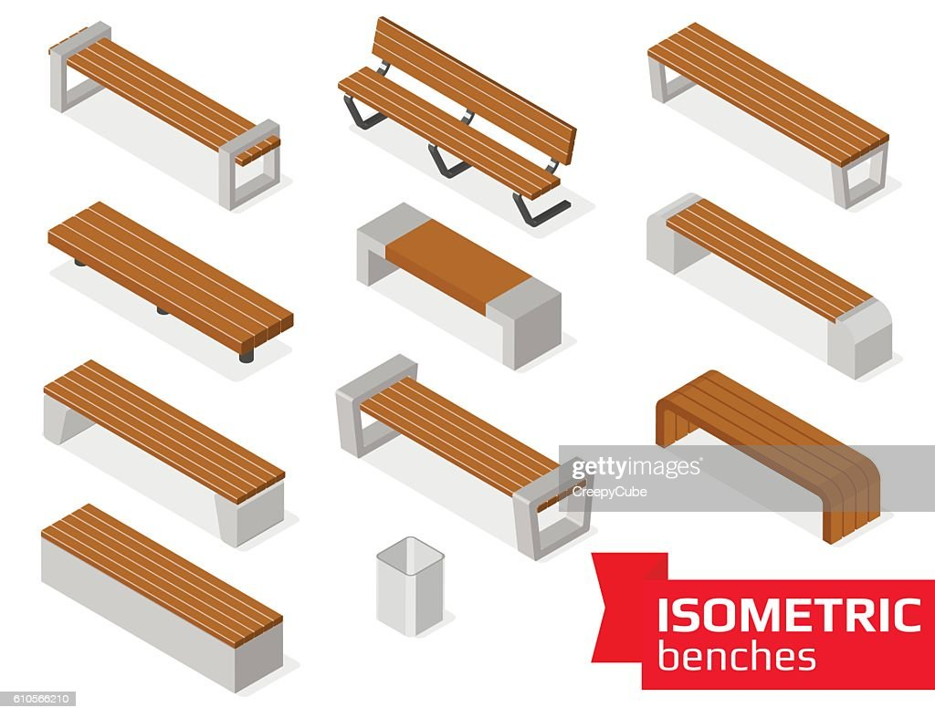 Isometric benches isolated on white.