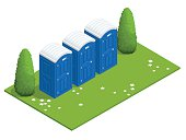 Isometric Bio mobile toilets on grass.