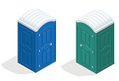 Isometric bio toilet cabin. Blue and green. Hiking services