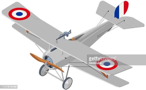 ilustraciones, imágenes clip art, dibujos animados e iconos de stock de biplano isométrico - primera guerra mundial