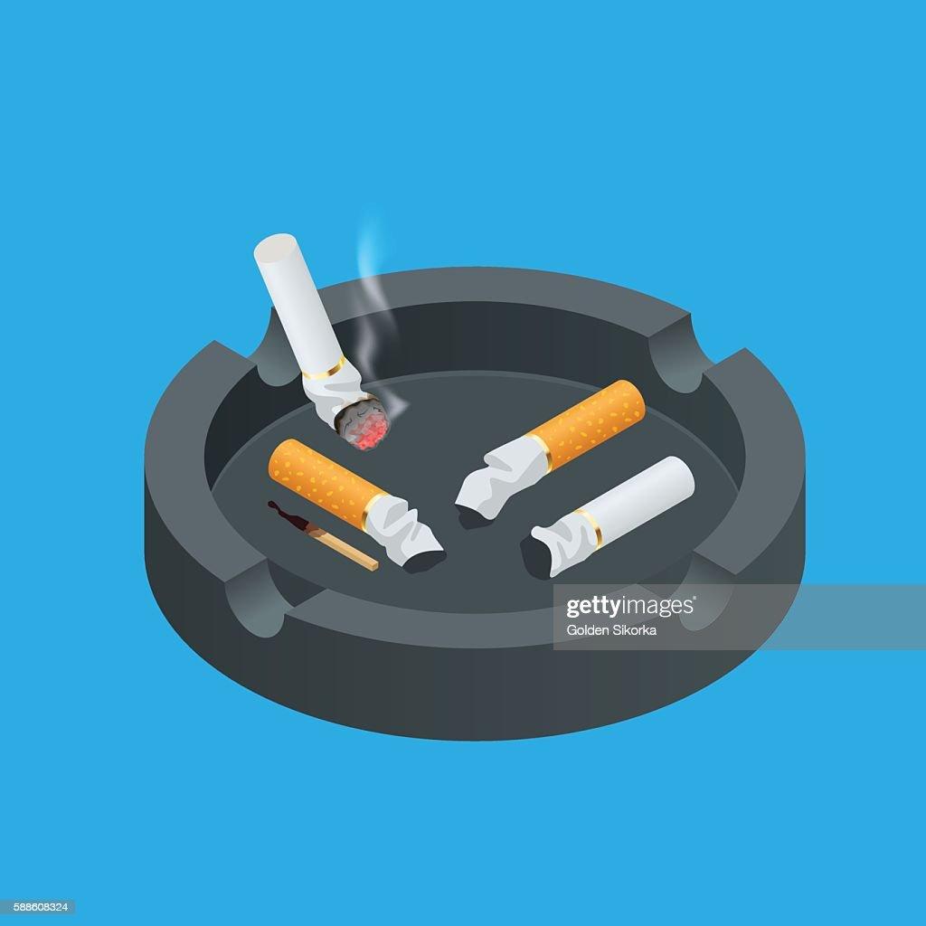 Isometric Black ceramic ashtray full of smokes cigarettes