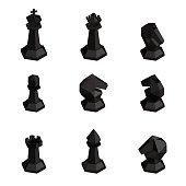 3D isometric black  chess figures.