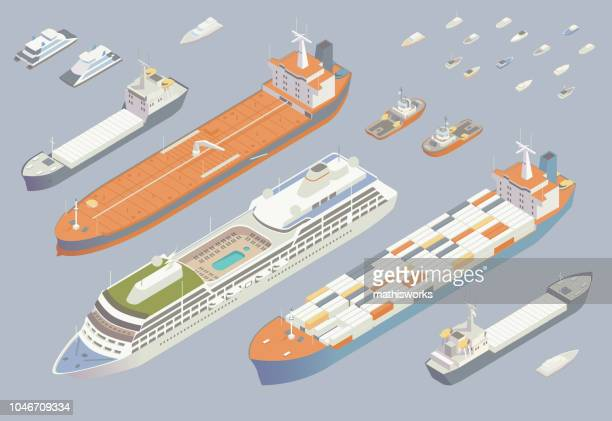 isometric boats and ships - mathisworks vehicles stock illustrations