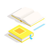 Isometric book icon in flat design style