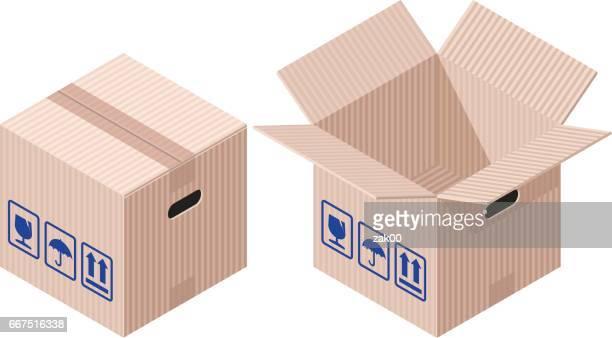 ilustrações, clipart, desenhos animados e ícones de isometric caixas - embalagem cartonada