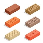 Isometric Bricks isolated on white