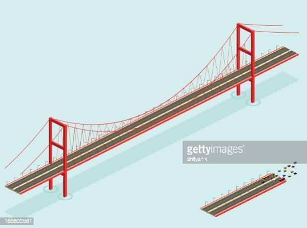 isometric bridge - san francisco california stock illustrations