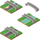 Isometric Bridge with Cars and River