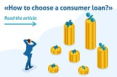 Isometric Bright Template banner article The man grabbed his head and looks at the amount of loans and their rates