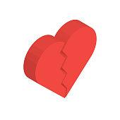 Isometric Broken Heart in Vector
