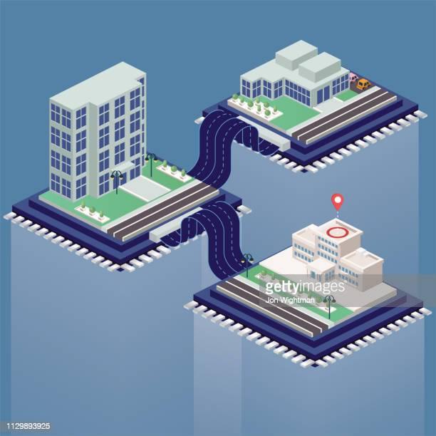 illustrazioni stock, clip art, cartoni animati e icone di tendenza di concetto di costruzione isometrica - riquadro cavo nastro connesso - città intelligente