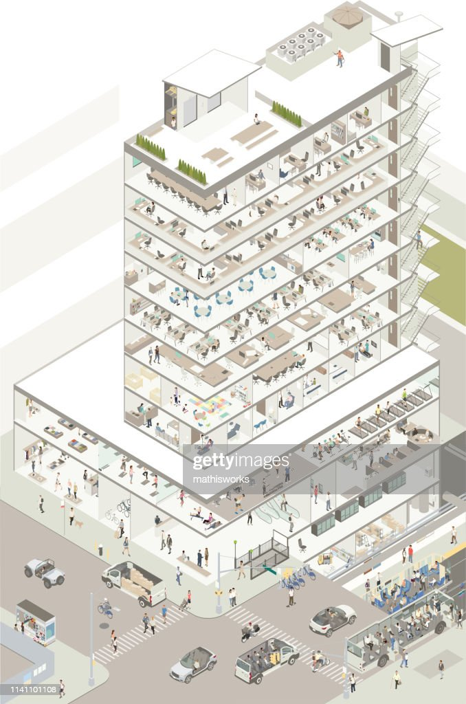 Isometric building cutaway : stock illustration