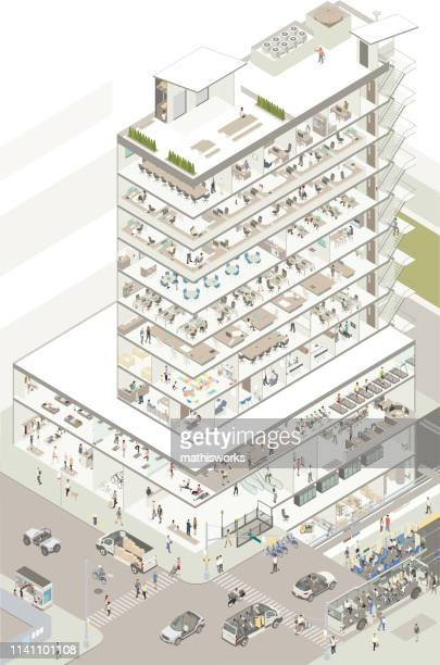 isometric building cutaway - mathisworks business stock illustrations