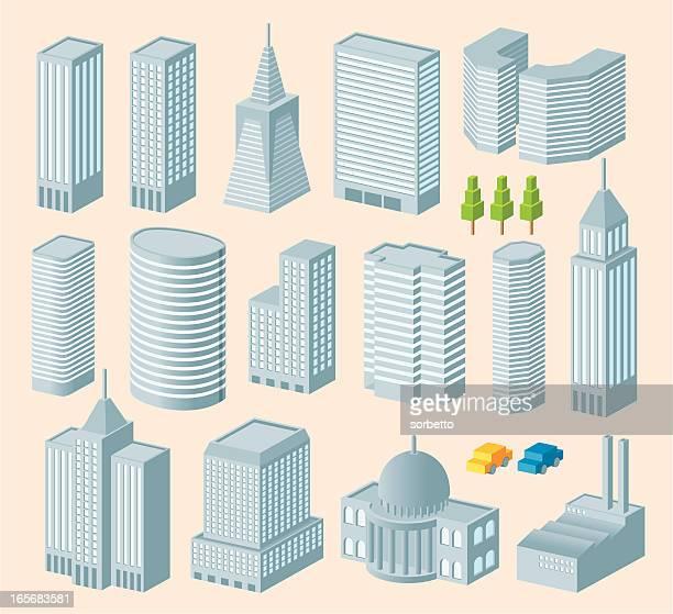 isometric building - skyscraper stock illustrations