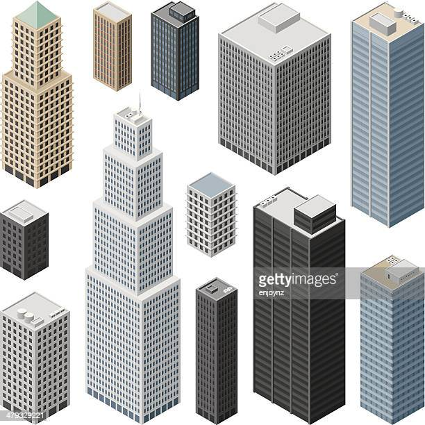 isometric buildings - skyscraper stock illustrations