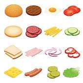 Isometric Burger ingredients set