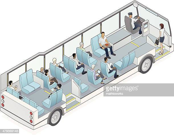 isometric bus cutaway illustration - mathisworks vehicles stock illustrations