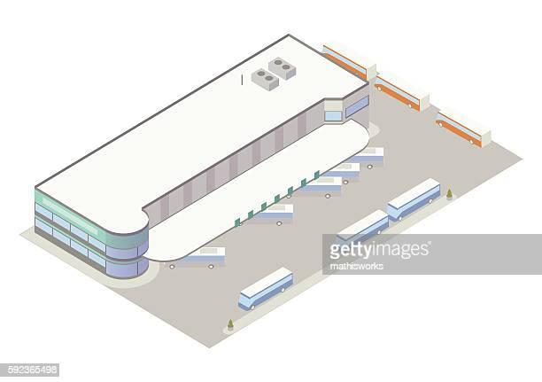 Isometric bus depot illustration
