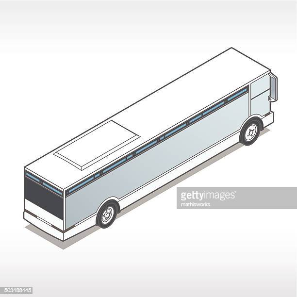 isometric bus illustration - mathisworks stock illustrations