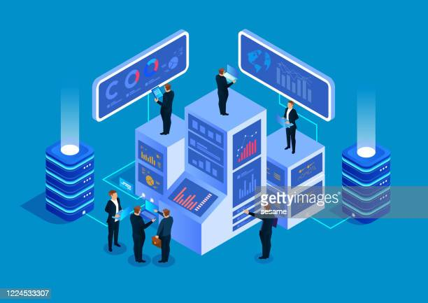 isometric business big data management service and data analysis concept - surveillance stock illustrations