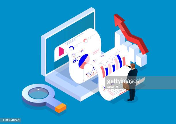 isometric business business data analysis investment and management - forecasting stock illustrations