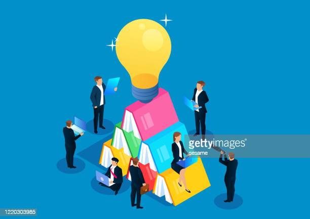 isometric business education and learning, a group of businessmen learning to read next to stacked books and shiny light bulbs - wisdom stock illustrations