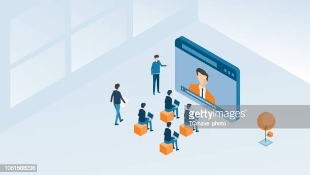 isometric  business online conferencing  and online class concept