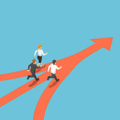 Isometric business people came from different way but have same target