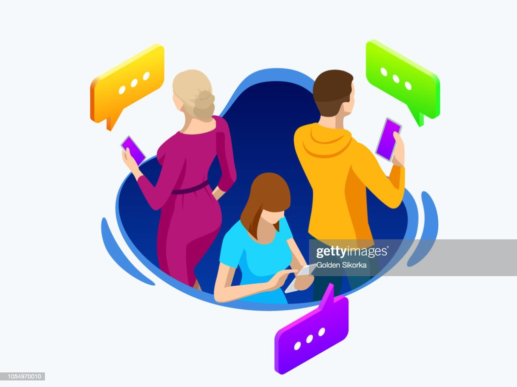 Isometric business people group using smart phone, tablet for working or playing social network. Online sharing connection. Vector illustration