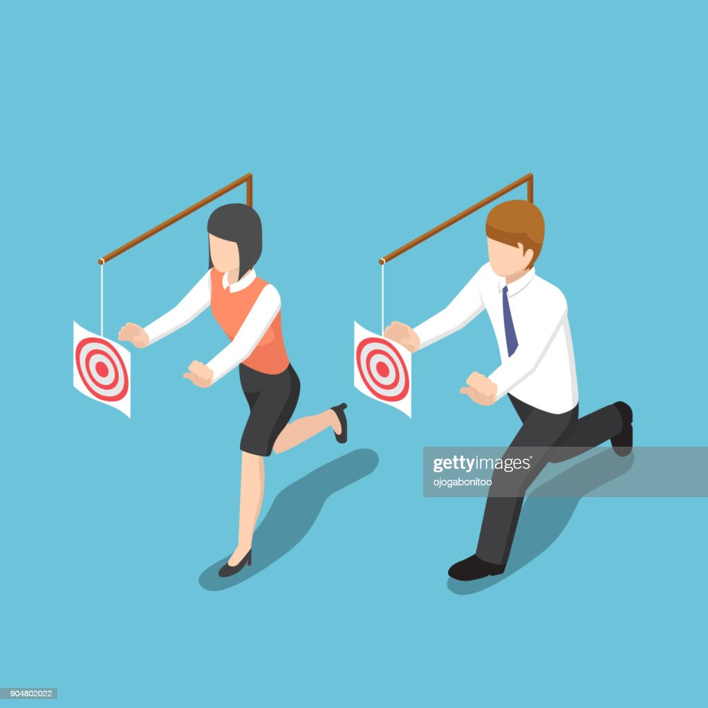 Isometric business people try to catch target.
