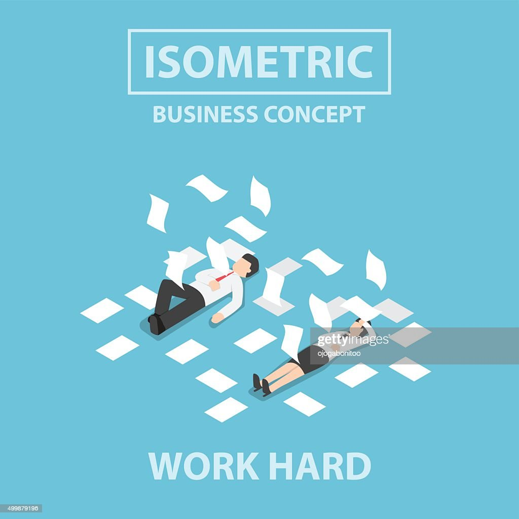 Isometric business people work hard and unconscious on the floor