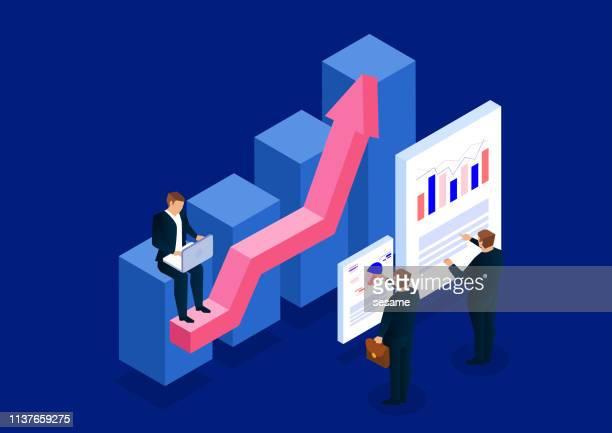 ilustraciones, imágenes clip art, dibujos animados e iconos de stock de desarrollo de planes de negocio isométricos y análisis de datos - panel de indicadores medios visuales