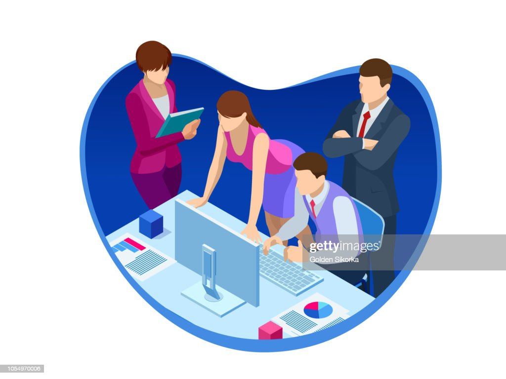 Isometric business teamwork and digital marketing, meeting, creative innovation.