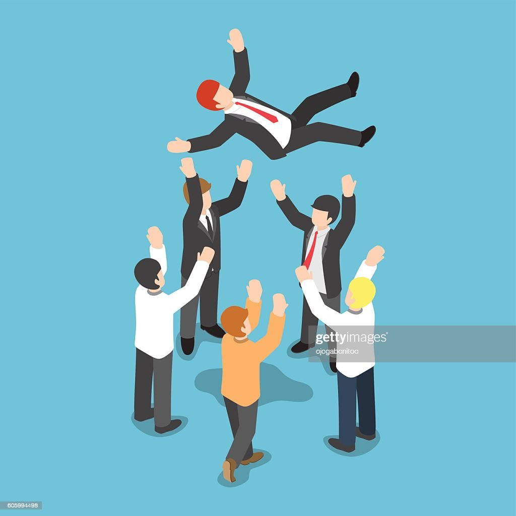 Isometric businessman being throw up in the air