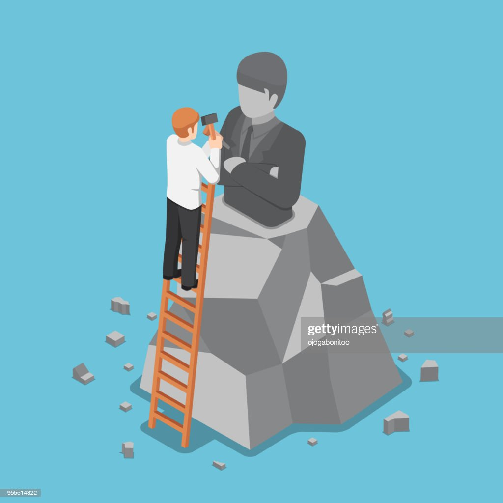 Isometric businessman creating the model of his statue