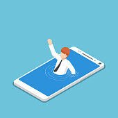 Isometric businessman drowning in smartphone.