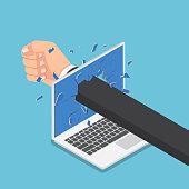 Isometric businessman hand punch through laptop monitor.