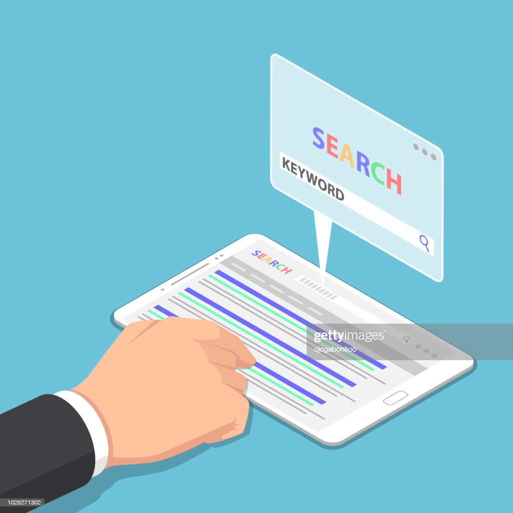 Isometric businessman hand use tablet to searching keyword on search engine