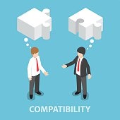 Isometric businessman in conversation with blank speech jigsaw s