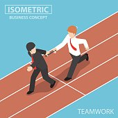 Isometric Businessman Passing Baton to His Colleague in Relay Race