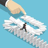 Isometric businessman running away on domino that falling by big hand.