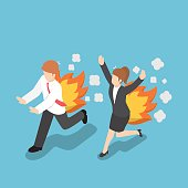 Isometric Businessman Running with Back on Fire